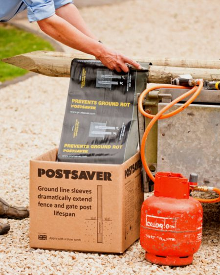 Postsaver Wrap Being Applied with a Blow Torch