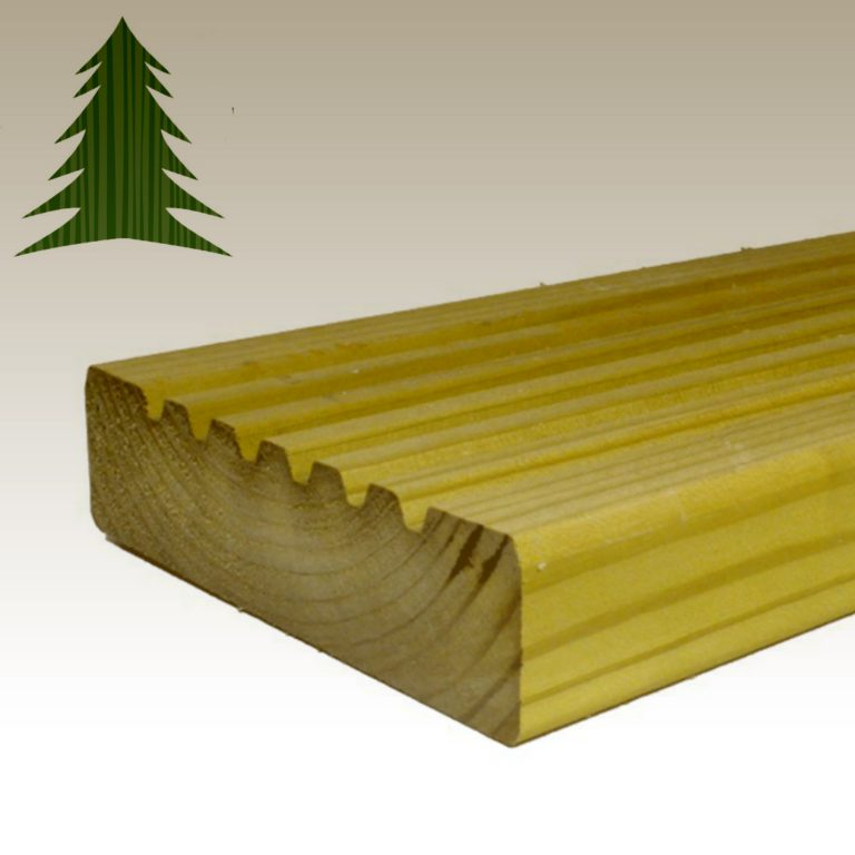 Tanalised Classic Ribbed Decking Board